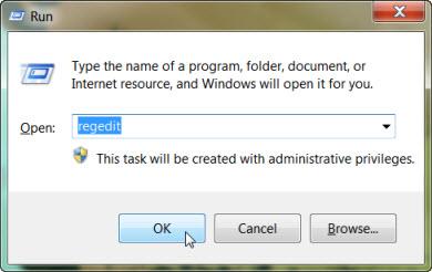 start registry editor